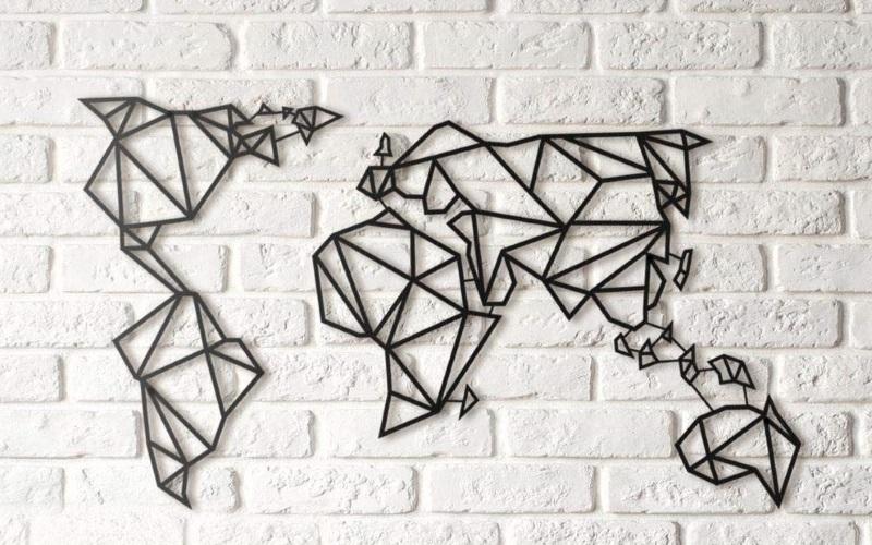 Metall-Weltkarte